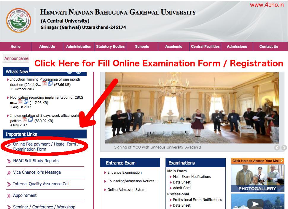 hnbgu examination form