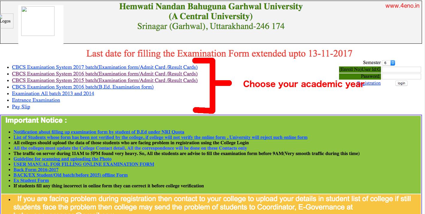 hnbguedrp online examination form