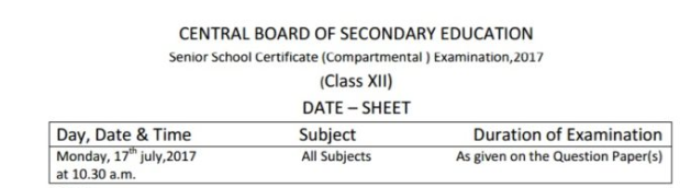 CBSE Compartment Admit Card