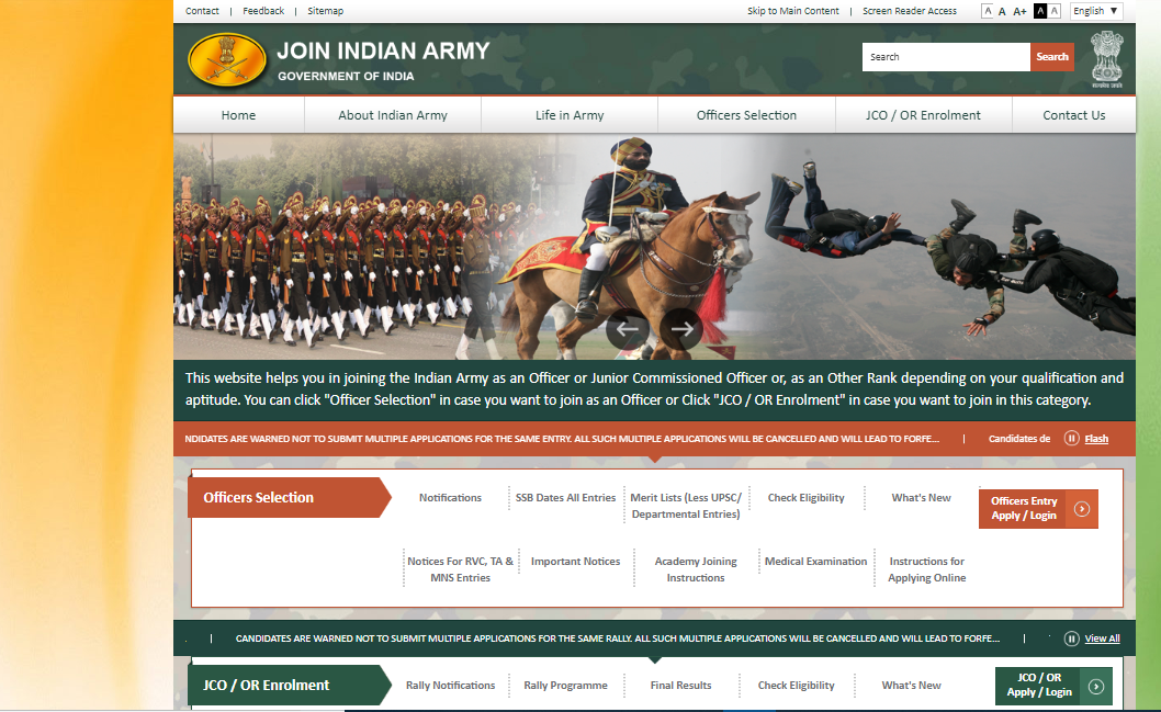 Indian Army Admit Card