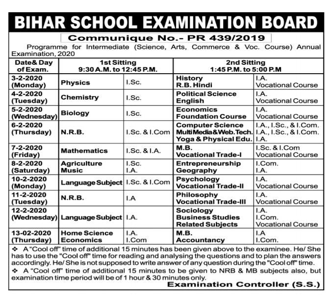 Bihar Board Exam Date