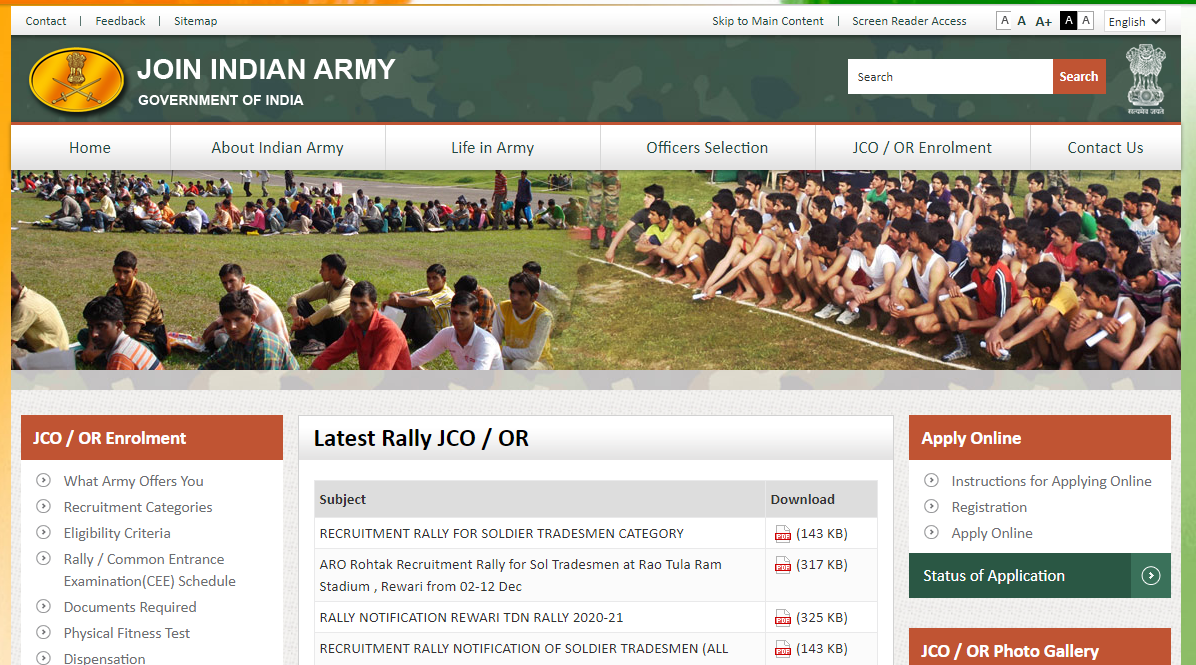 Indian Army Female Recruitment Rally