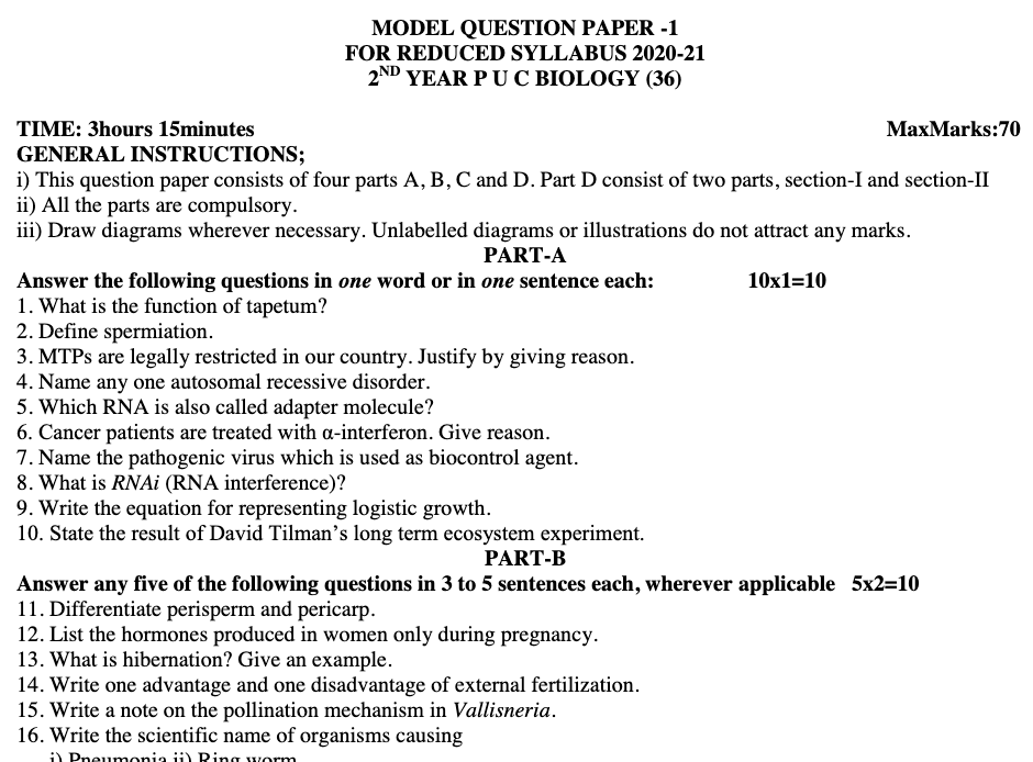 Karnataka II PUC Model Question Papers 2021