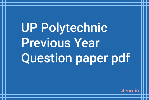up polytechnic previous year question paper pdf